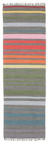 Rainbow Stripe - Grå Matta 80X250 Äkta Modern Handvävd Hallmatta Mörkgrå/Ljusgrå (Bomull, Indien)