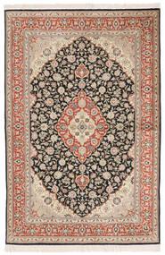 Ghom Silke Matta 100X156 Äkta Orientalisk Handknuten Mörkbeige/Mörkröd (Silke, Persien/Iran)