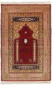 Herike Tu Matta 82X130 Äkta Orientalisk Handknuten Mörkröd/Ljusbrun (Silke, Turkiet)
