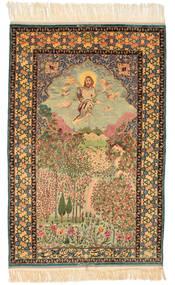 Isfahan Figural Signerad: Haghighi Matta 163X230 Äkta Orientalisk Handknuten Brun/Beige (Ull/Silke, Persien/Iran)