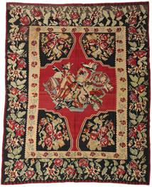 Kelim Semiantik Matta 287X355 Äkta Orientalisk Handvävd Mörkröd/Svart Stor (Ull, Slovenien)