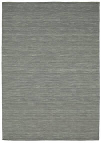 Kelim Loom - Mörkgrå Matta 160X230 Äkta Modern Handvävd Ljusgrå/Mörkgrön (Ull, Indien)