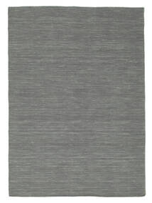 Kelim Loom - Mörkgrå Matta 140X200 Äkta Modern Handvävd Mörkgrön/Ljusgrå (Ull, Indien)