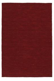 Kelim Loom - Mörkröd Matta 140X200 Äkta Modern Handvävd Röd (Ull, Indien)