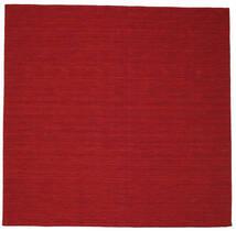 Kelim Loom - Mörkröd Matta 300X300 Äkta Modern Handvävd Kvadratisk Röd Stor (Ull, Indien)