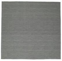 Kelim Loom - Mörkgrå Matta 300X300 Äkta Modern Handvävd Kvadratisk Mörkgrön/Ljusgrå Stor (Ull, Indien)