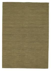Kelim Loom - Oliv Matta 160X230 Äkta Modern Handvävd Olivgrön (Ull, Indien)
