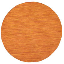 Kelim Loom - Orange Matta Ø 150 Äkta Modern Handvävd Rund Orange (Ull, Indien)