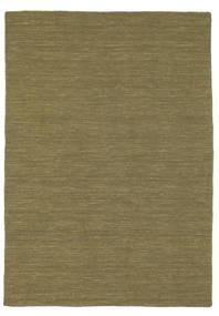 Kelim Loom - Oliv Matta 140X200 Äkta Modern Handvävd Olivgrön (Ull, Indien)