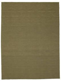 Kelim Loom - Oliv Matta 300X400 Äkta Modern Handvävd Olivgrön Stor (Ull, Indien)