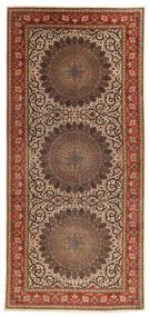 Tabriz 60 Raj Silkesvarp Matta 200X450 Äkta Orientalisk Handknuten Hallmatta Brun/Mörkbrun (Ull/Silke, Persien/Iran)