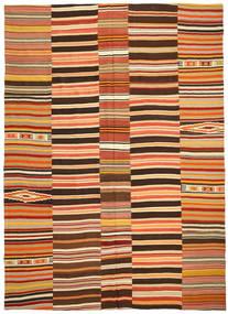 Kelim Patchwork Matta 255X360 Äkta Modern Handvävd Röd/Mörkbrun Stor (Ull, Turkiet)