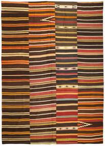 Kelim Patchwork Matta 254X358 Äkta Modern Handvävd Mörkbrun/Röd Stor (Ull, Turkiet)