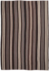 Kelim Matta 355X520 Äkta Orientalisk Handvävd Mörkgrå/Mörkröd Stor (Ull, Turkiet)