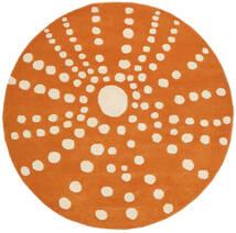 Sjöborre Handtufted - Orange Matta Ø 150 Modern Rund Ljusbrun/Orange (Ull, Indien)