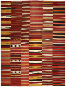 Kelim Patchwork Matta 355X444 Äkta Modern Handvävd Mörkröd/Röd Stor (Ull, Turkiet)