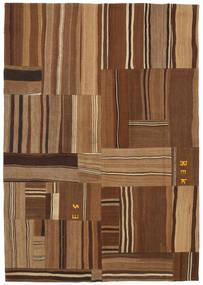 Kelim Patchwork Matta 169X240 Äkta Modern Handvävd Brun/Mörkbrun (Ull, Turkiet)
