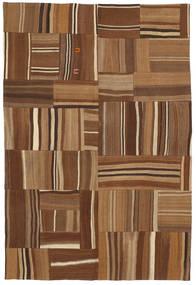 Kelim Patchwork Matta 165X224 Äkta Modern Handvävd Brun/Mörkbrun (Ull, Turkiet)
