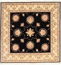Tabriz 50 Raj Med Silke Matta 203X205 Äkta Orientalisk Handknuten Kvadratisk Svart/Beige (Ull/Silke, Persien/Iran)