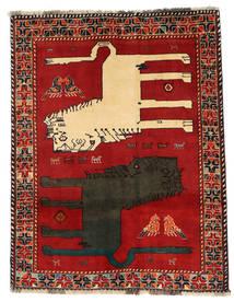 Ghashghai Figural Matta 133X172 Äkta Orientalisk Handknuten Roströd/Mörkgrå (Ull, Persien/Iran)