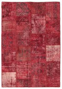 Patchwork Matta 158X230 Äkta Modern Handknuten Mörkröd/Röd (Ull, Turkiet)