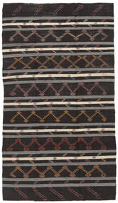 Kelim Semiantik Turkisk Matta 199X348 Äkta Orientalisk Handvävd Svart/Mörkgrå (Ull, Turkiet)