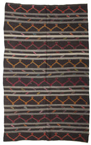 Kelim Semiantik Turkisk Matta 212X345 Äkta Orientalisk Handvävd Svart/Mörkgrå (Ull, Turkiet)