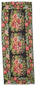 Rosenkelim Moldavia Matta 166X452 Äkta Orientalisk Handvävd Hallmatta Svart/Ljusgrön (Ull, Moldavien)