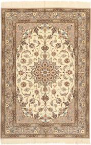 Isfahan Silkesvarp Matta 110X160 Äkta Orientalisk Handknuten Beige/Brun (Ull/Silke, Persien/Iran)