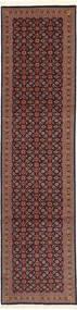 Tabriz 50 Raj Med Silke Matta 75X300 Äkta Orientalisk Handknuten Hallmatta Mörkbrun/Mörkröd (Ull/Silke, Persien/Iran)