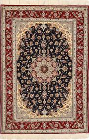 Isfahan Silkesvarp Matta 108X160 Äkta Orientalisk Handknuten Mörkröd/Ljusbrun (Ull/Silke, Persien/Iran)