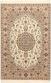 Isfahan Silkesvarp Matta 106X163 Äkta Orientalisk Handknuten Beige/Brun (Ull/Silke, Persien/Iran)