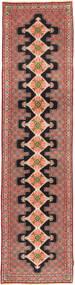 Senneh Matta 91X392 Äkta Orientalisk Handknuten Hallmatta Brun/Mörkröd (Ull, Persien/Iran)