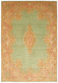 Kerman Matta 394X570 Äkta Orientalisk Handknuten Mörkbeige/Ljusgrön/Ljusbrun Stor (Ull, Persien/Iran)
