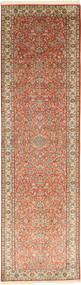 Kashmir Äkta Silke Matta 80X302 Äkta Orientalisk Handknuten Hallmatta Ljusbrun/Brun (Silke, Indien)
