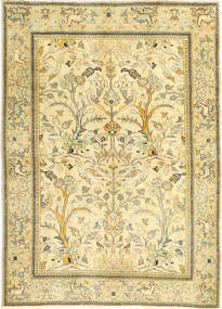 Tabriz Patina Matta 100X140 Äkta Orientalisk Handknuten Beige/Mörkbeige/Ljusgrön (Ull, Persien/Iran)
