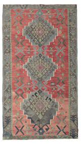 Kelim Semiantik Turkisk Matta 180X320 Äkta Orientalisk Handvävd Mörkgrå/Roströd (Ull, Turkiet)
