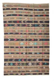 Kelim Semiantik Turkisk Matta 158X248 Äkta Orientalisk Handvävd Ljusbrun/Ljusgrå/Mörkgrå (Ull, Turkiet)