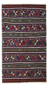 Kelim Semiantik Turkisk Matta 140X250 Äkta Orientalisk Handvävd Mörkbrun/Mörkgrå (Ull, Turkiet)
