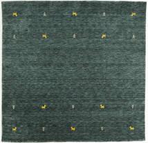 Gabbeh Loom Two Lines - Mörkgrå/Grön Matta 200X200 Modern Kvadratisk Mörkgrön/Mörk Turkos (Ull, Indien)