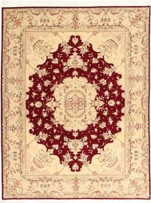 Tabriz 50 Raj Med Silke Matta 150X197 Äkta Orientalisk Handknuten Beige/Mörkröd (Ull/Silke, Persien/Iran)