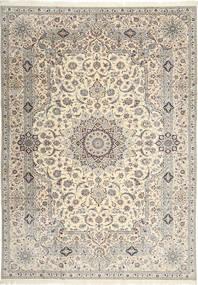 Nain 6La Habibian Matta 242X348 Äkta Orientalisk Handknuten Ljusgrå/Beige (Ull/Silke, Persien/Iran)