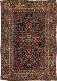 Isfahan Antik Matta 147X215 Äkta Orientalisk Handknuten Mörkröd/Mörkbrun (Ull, Persien/Iran)