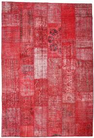 Patchwork Matta 201X296 Äkta Modern Handknuten Röd/Roströd (Ull, Turkiet)