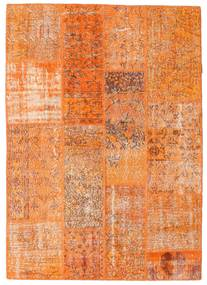 Patchwork Matta 142X201 Äkta Modern Handknuten Orange/Ljusbrun (Ull, Turkiet)