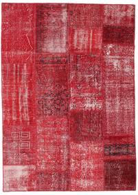 Patchwork Matta 162X230 Äkta Modern Handknuten Röd/Roströd (Ull, Turkiet)