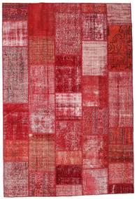 Patchwork Matta 201X299 Äkta Modern Handknuten Röd/Rosa (Ull, Turkiet)