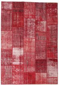 Patchwork Matta 202X298 Äkta Modern Handknuten Röd/Mörkröd/Roströd (Ull, Turkiet)