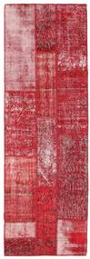 Patchwork Matta 84X252 Äkta Modern Handknuten Hallmatta Röd/Roströd (Ull, Turkiet)