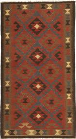 Kelim Maimane Matta 103X188 Äkta Orientalisk Handvävd Mörkbrun/Roströd/Brun (Ull, Afghanistan)